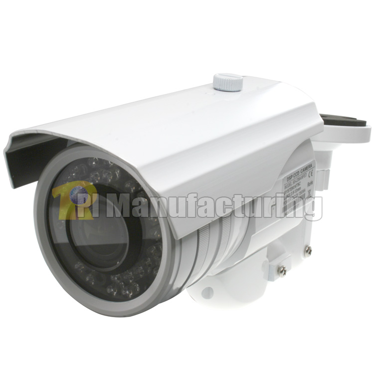 1/3 inch Sony Effio-E Color CCD Weather Resistant IR Bullet Camera, 2.8-12mm Varifocal Lens, 650 TVL, IR Distance: 100ft