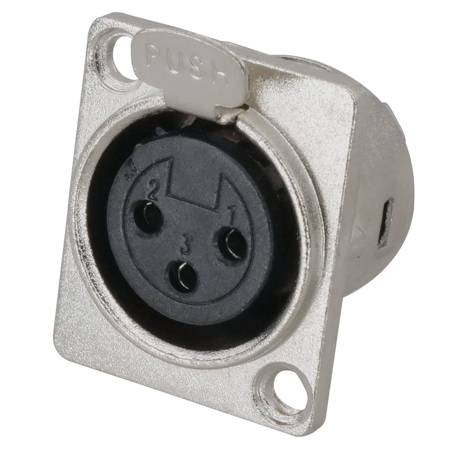 XLR Chassis Mount Connector, 3-pin, Female, Nickel Shell, Silver Contact