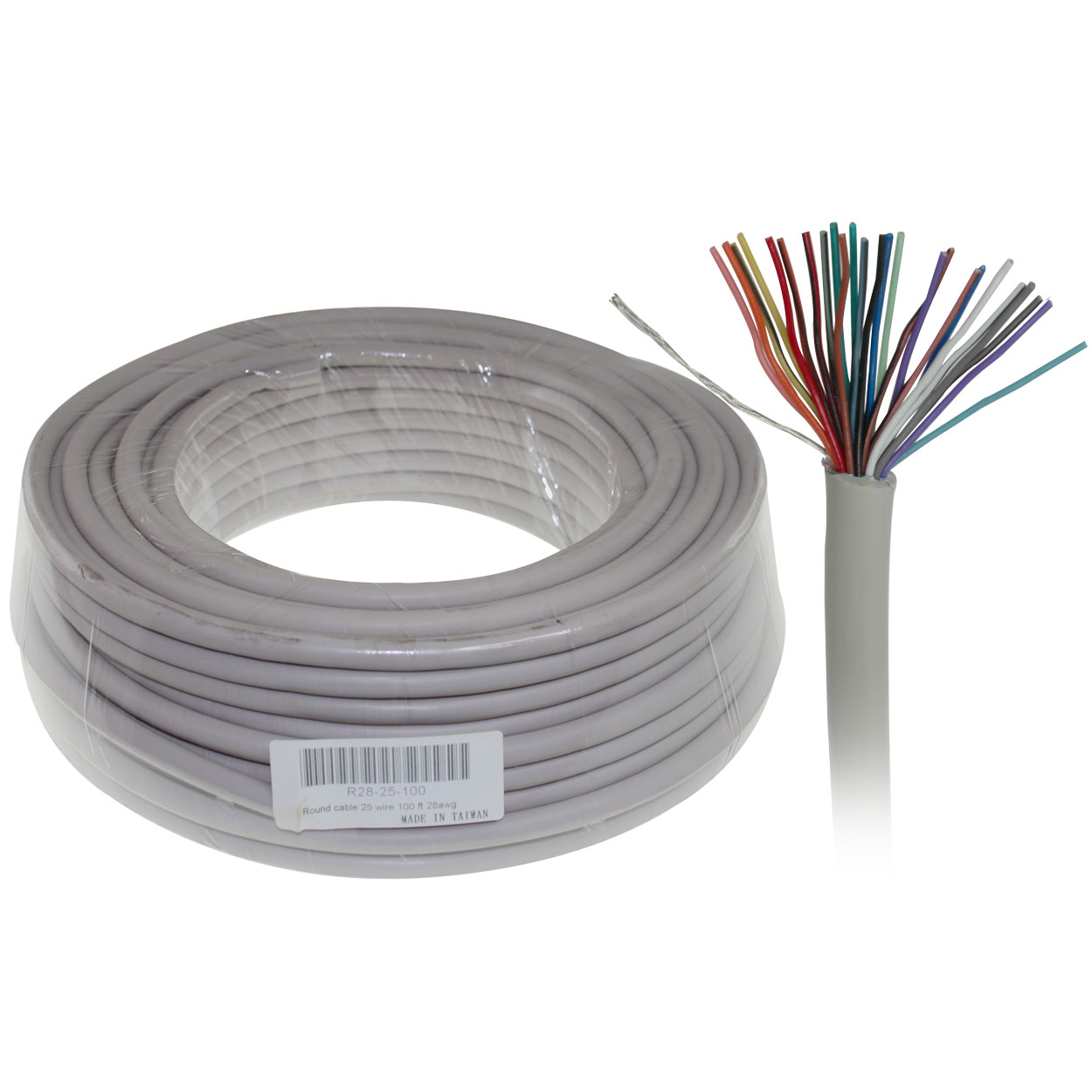 100ft Round Bulk Cable, 25 Wire, 28AWG