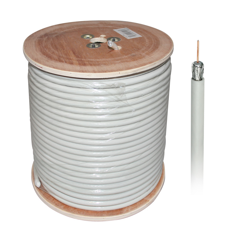 1000ft Bare Copper 18AWG RG6 Braid Shield Coaxial Cable for HDTV  - White