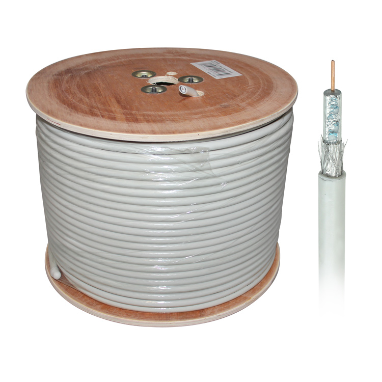 500ft RG6u Quad Shield Coaxial Cable - White