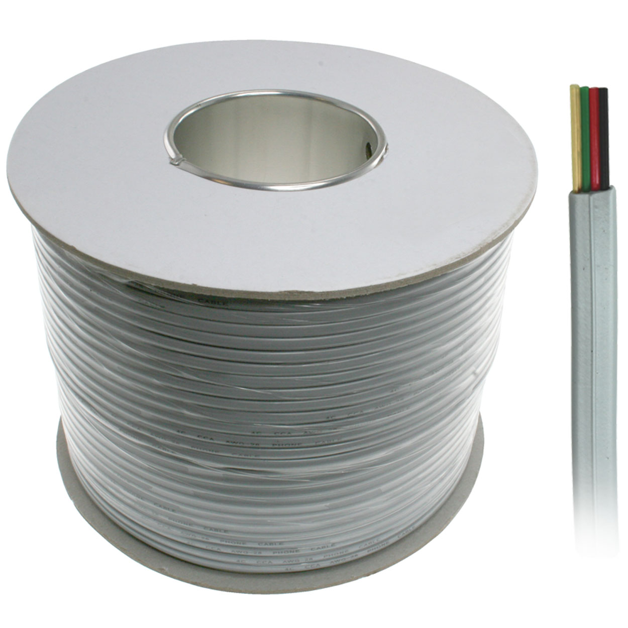 1000ft 4-Conductor Bulk Phone Cable, 26AWG, Silver Satin, UL Rated