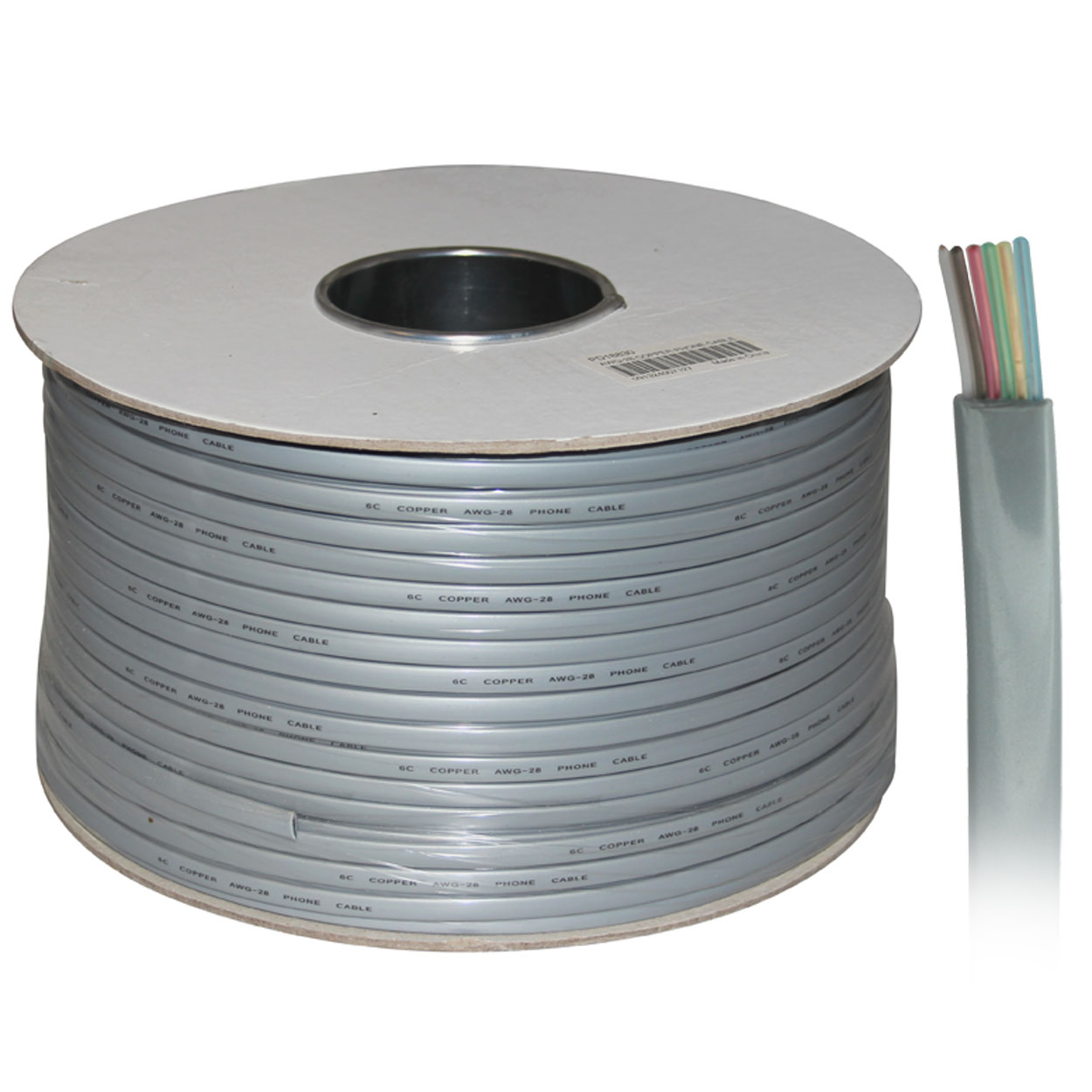1000ft 6-Conductor Bulk Phone Cable, 28AWG, Silver Satin