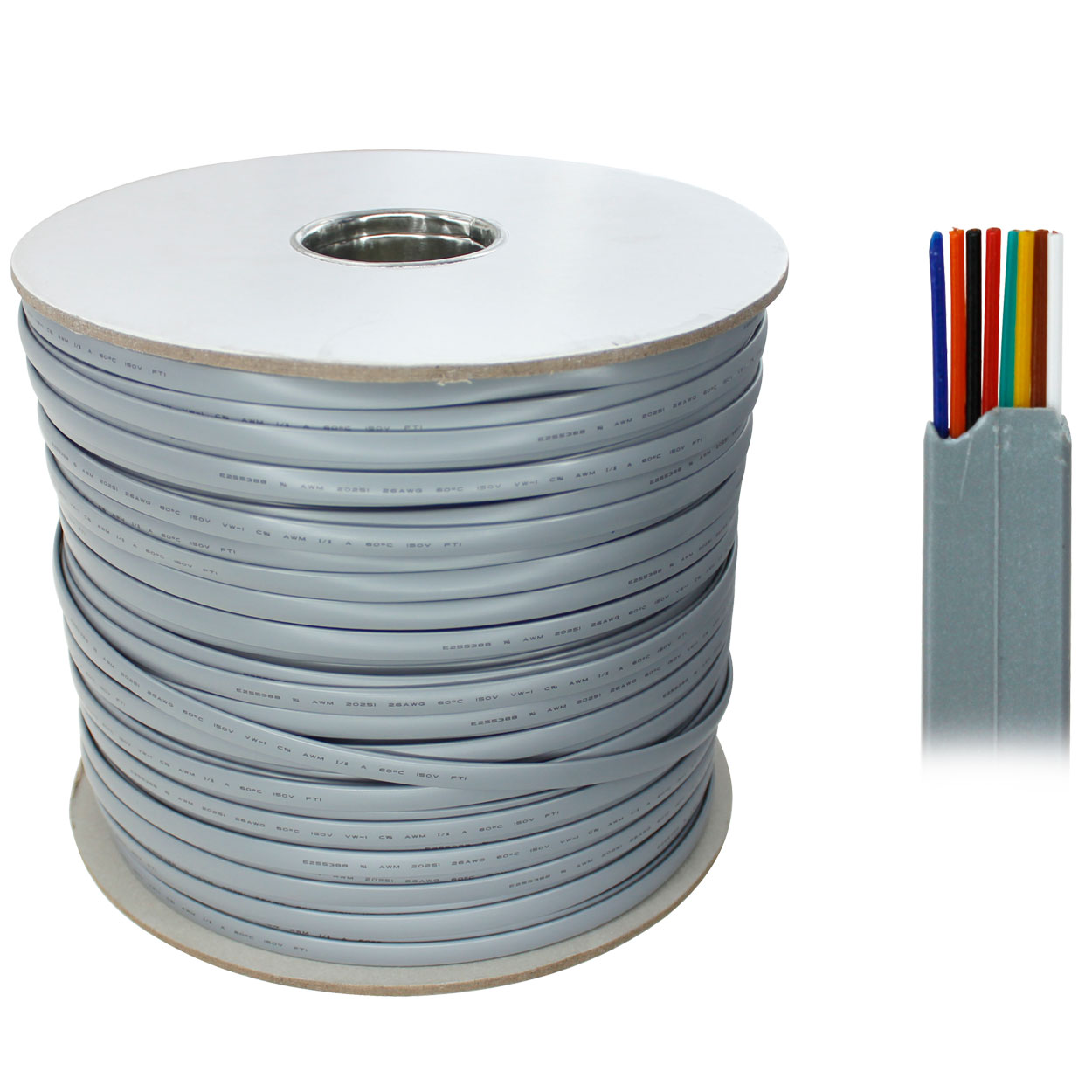 1000ft 8-Conductor Bulk Phone Cable, 26AWG, Silver Satin, UL - PI ...