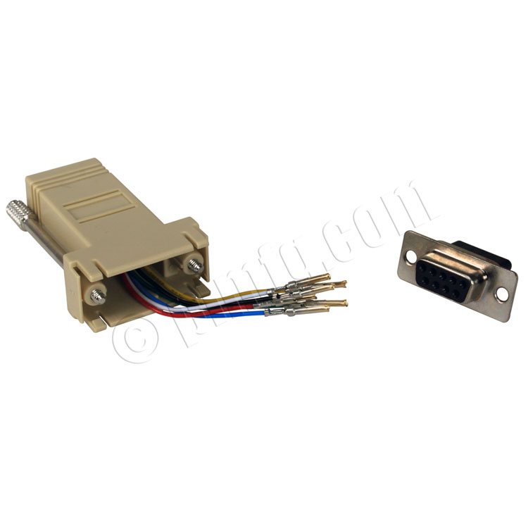 RJ12 to DB9 Female Modular Adapter - Beige