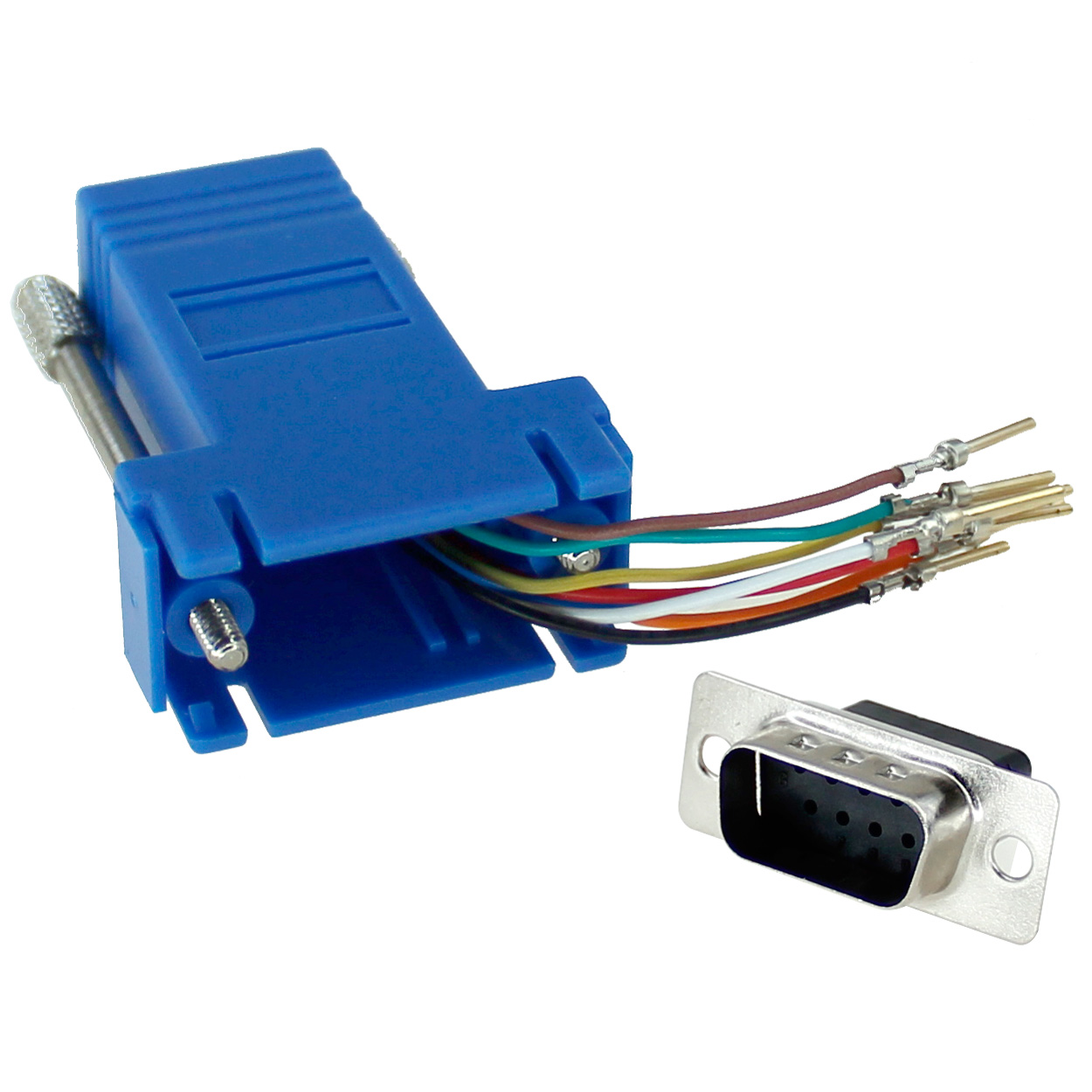 RJ45 to DB9 Male Modular Adapter - Blue