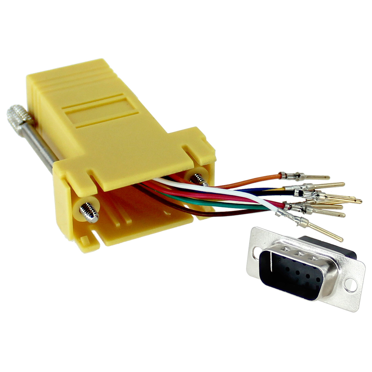 RJ45 to DB9 Male Modular Adapter - Yellow