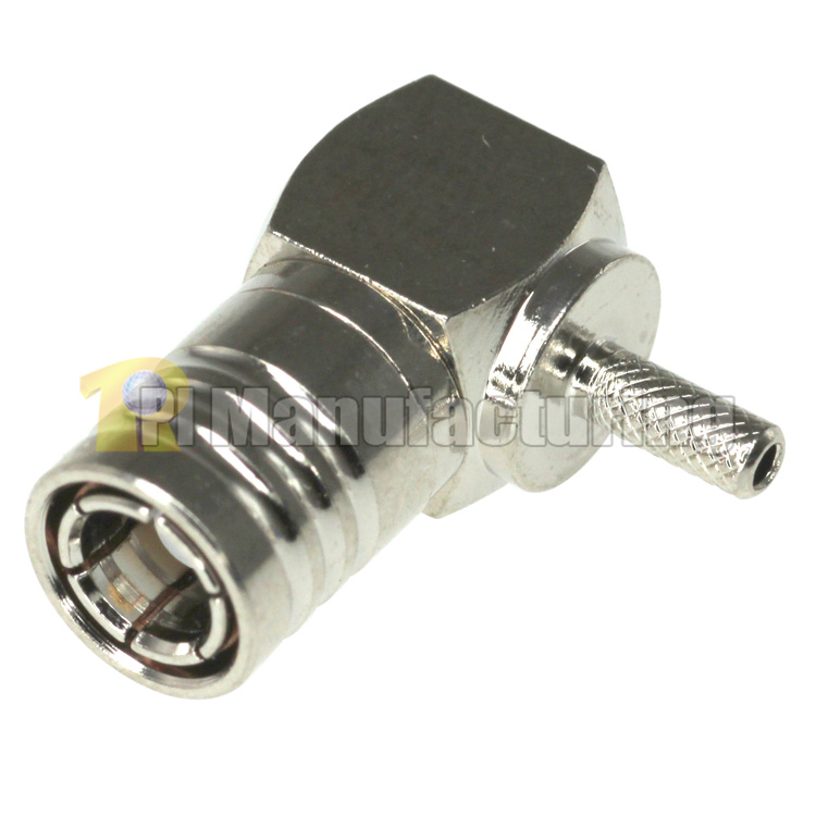 SMB Male Right Angle Crimping Connector, for 1.13mm 1.37mm (AWG-30,32) Cable