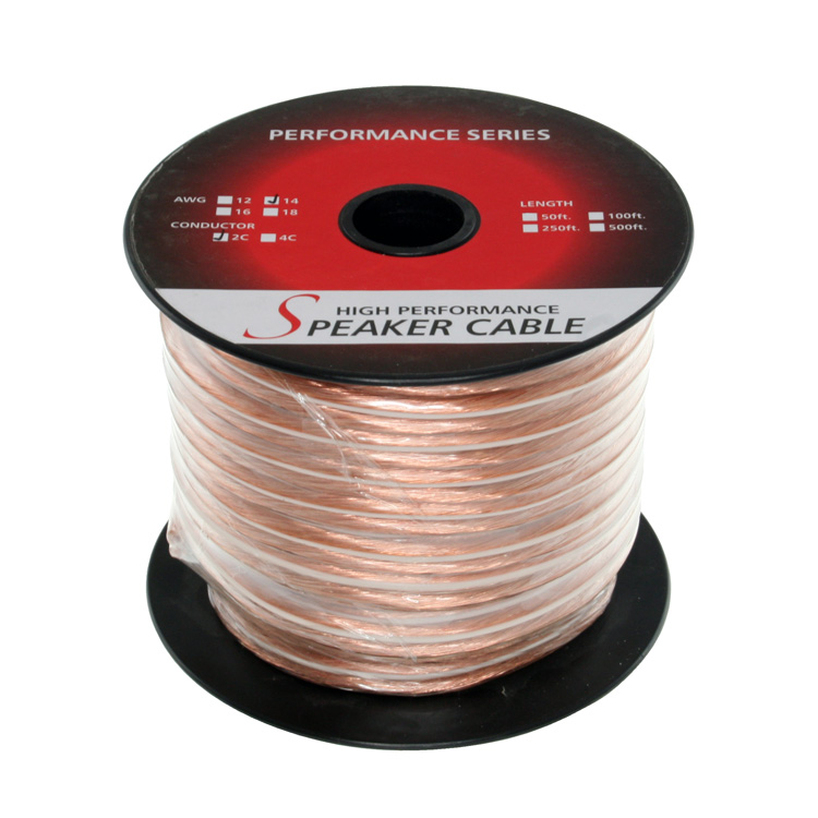 100ft 14AWG 2 Wire Enhanced Loud Oxygen-Free Speaker Wire Cable