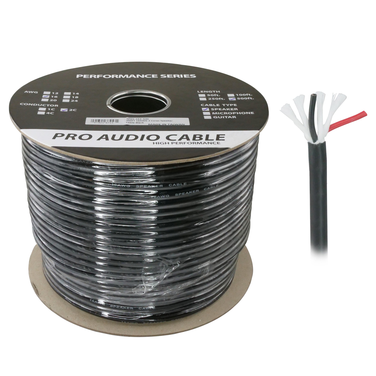 500ft 16AWG 2 Wire Pro Audio Speaker Cable - Black