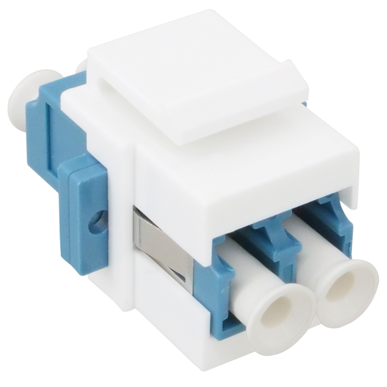 Flush Type Keystone Insert with LC Duplex Singlemode Adapter, White