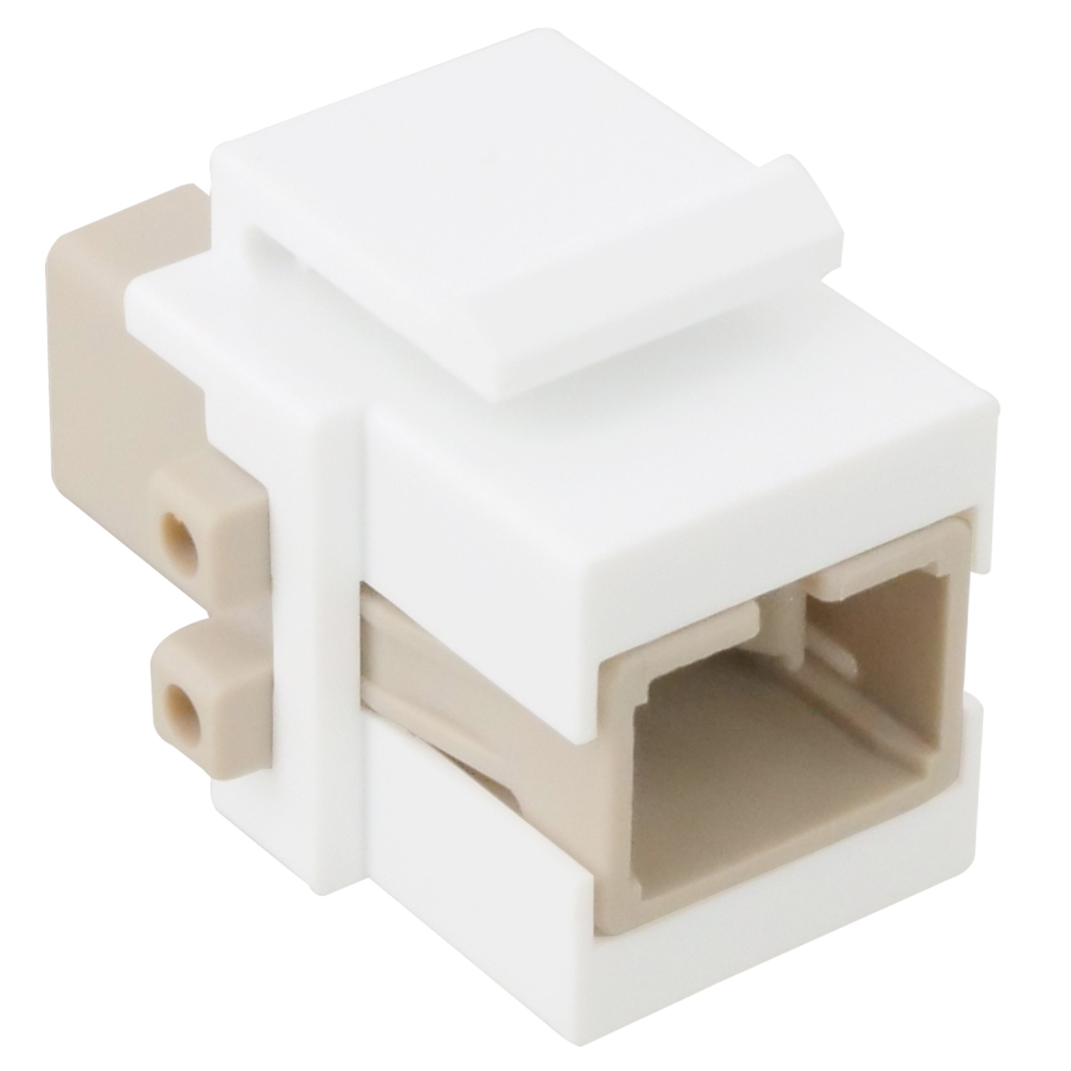 Flush Type Keystone Insert with SC Simplex Multimode Adapter, White