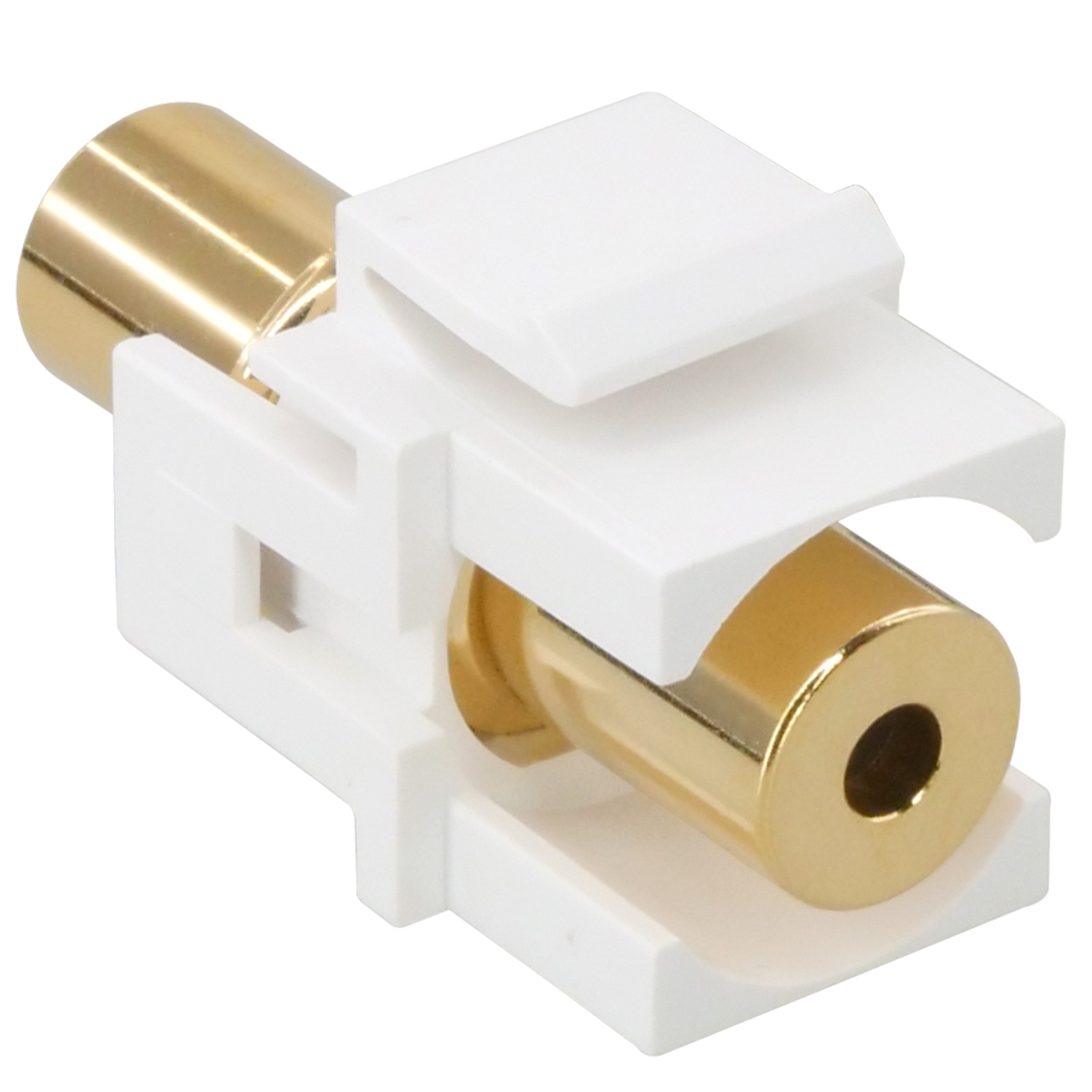 3.5mm TRRS Stereo Female to Female Gold Plated Flush Type Keystone Jack - White