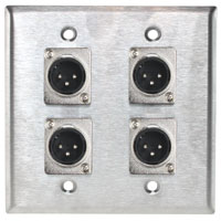 2 Gang Wall Plate With 4 XLR Male Connector, Silver