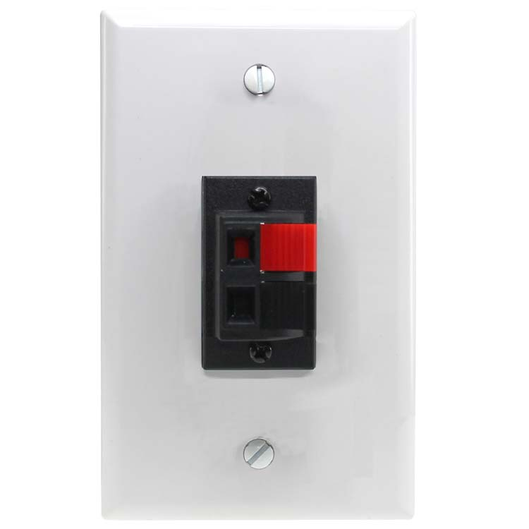 Speaker Wires From Wall : Spring clip wall plate for audio speaker wires with