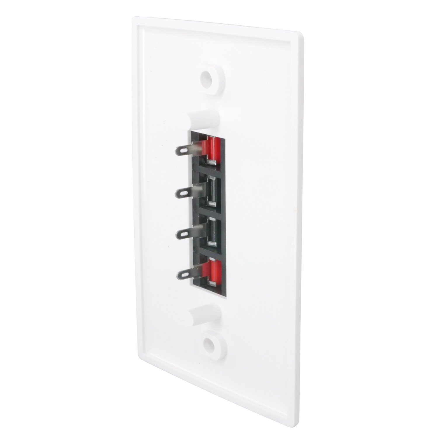 Spring Clip Wall Plate For Audio Speaker Wires with 4 Terminal PI