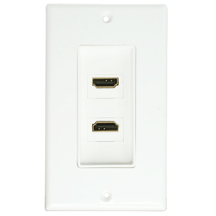 dual hdmi decora wall plate w   90 degree coupler