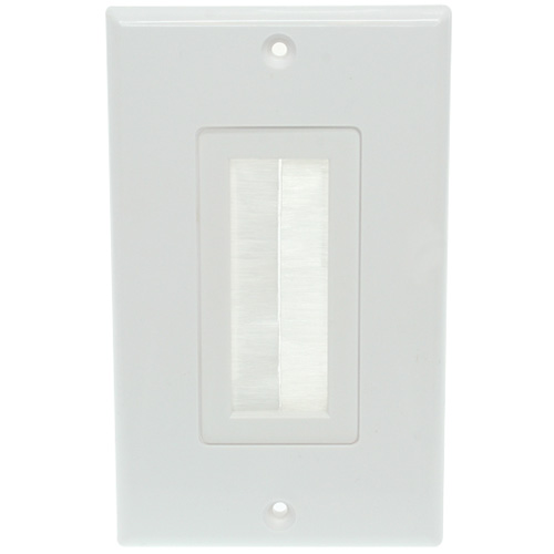 1-Gang Wall Plate with Brush Bristles - White