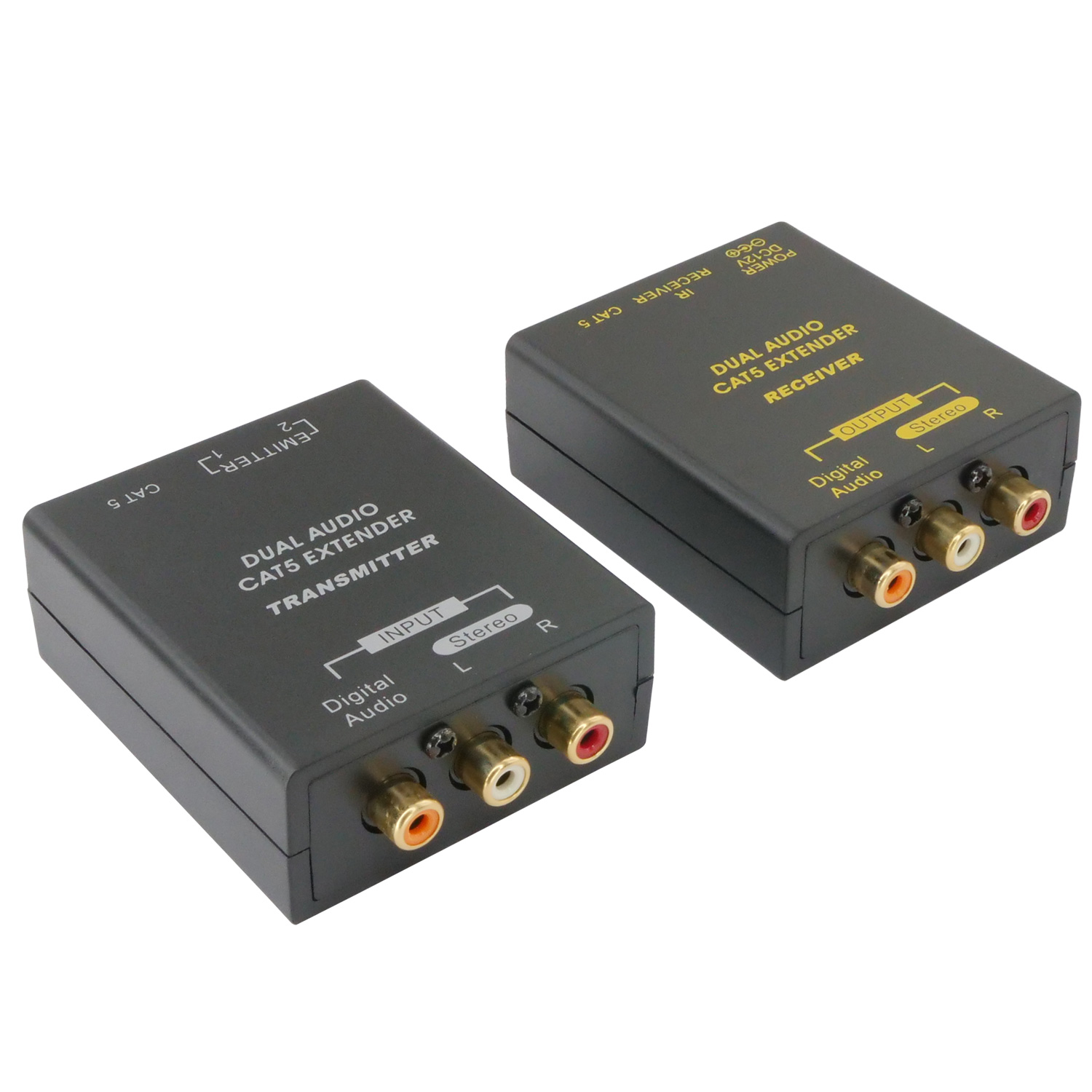 Digital or RCA Audio L/R Extender over RJ45 Ethernet Cable with IR