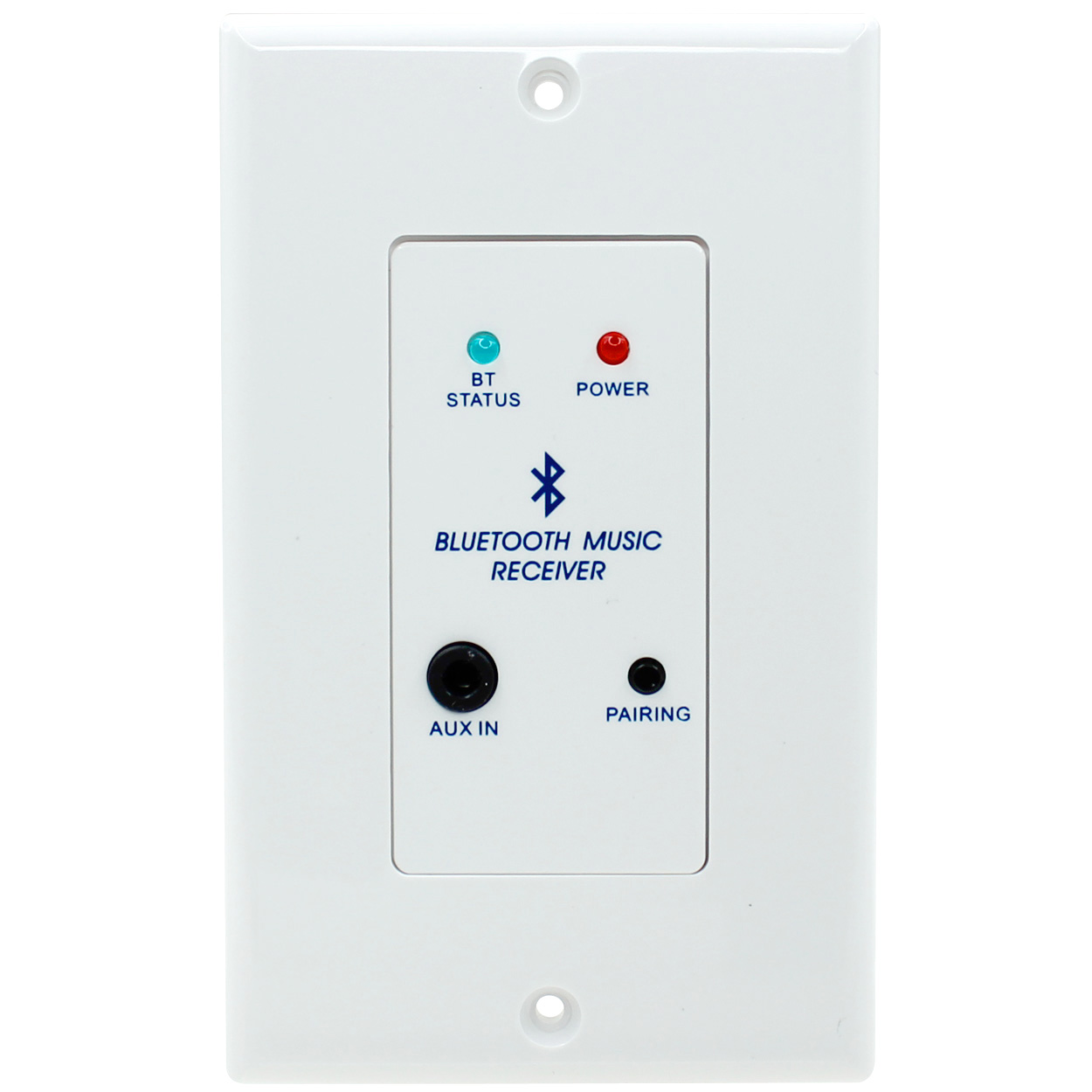 In-Wall Bluetooth Receiver Wall Plate with Stereo Audio Line Out