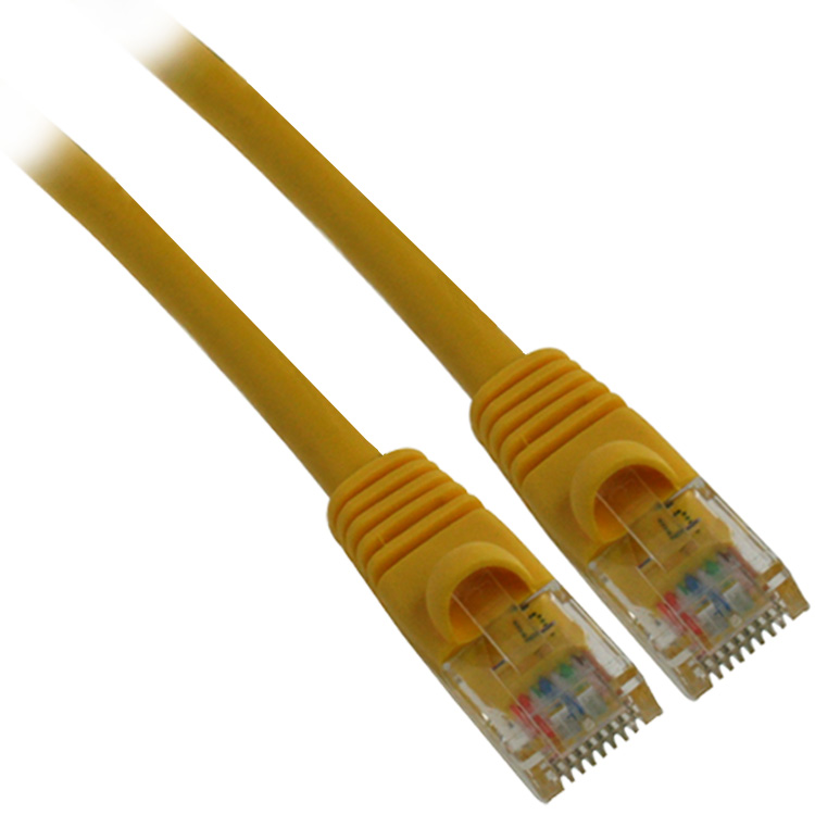 0.5ft 26AWG Molded UTP Cat5e Network Cable - Yellow 500pcs/pack