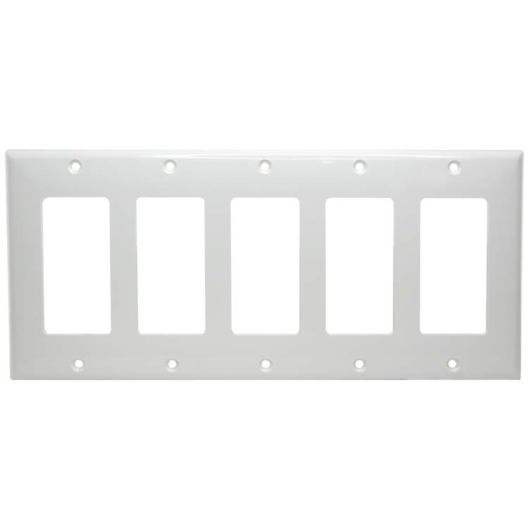 5 Gang Decora Thermoplastic Panel Wall Plate (GFCI), White