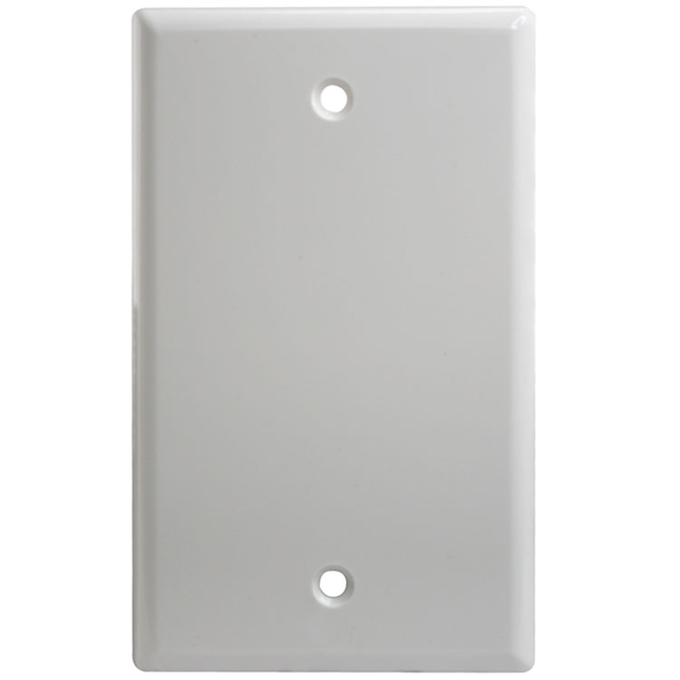 Single Gang Blank Thermoplastic Wall Plate - White