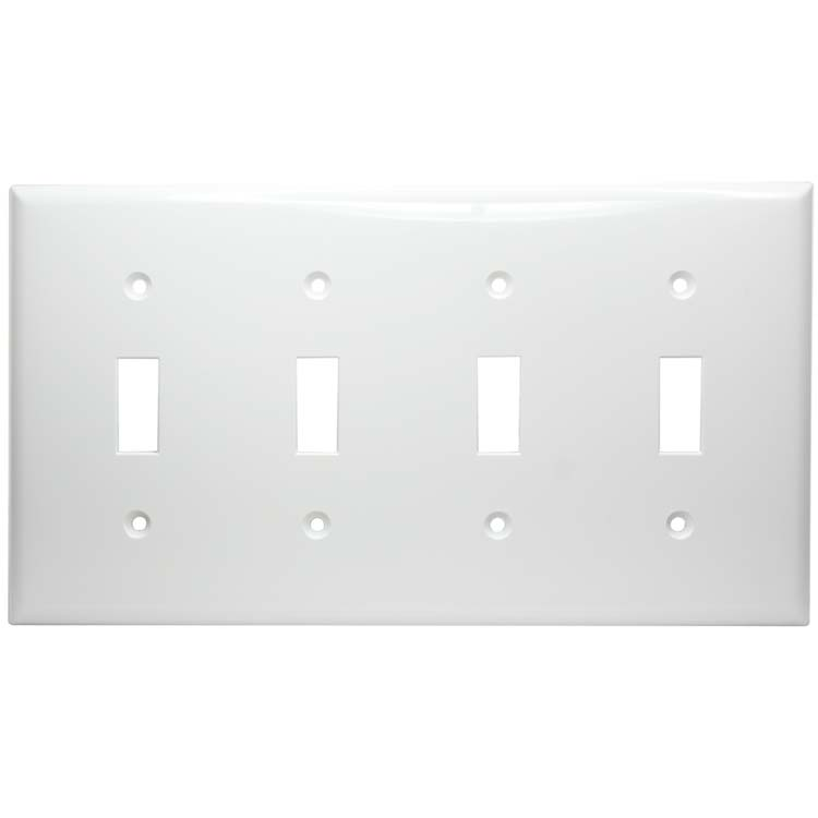 4 Gang Thermoplastic Toggle Switch Panel Wall Plate, White