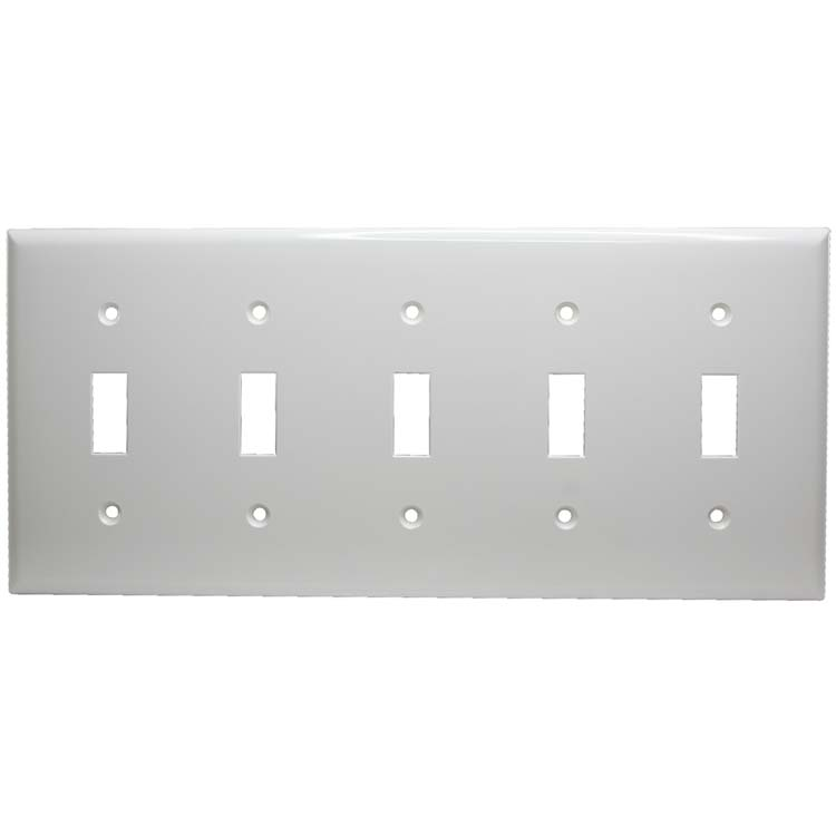 5 Gang Thermoplastic Toggle Switch Panel Wall Plate, White