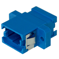 MPO / MTP Fiber Panel Coupler, Simplex, Single-mode Zirconia Sleeve, Plastic Flange SC Footprint - Blue