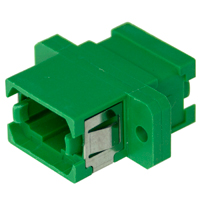 MPO / MTP Fiber Panel Coupler, Plastic Flange SC Footprint - Green
