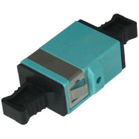 MPO Coupler Reduced Flange Keyway Convertible - Aqua
