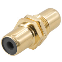 RCA Female to Female Connector Gold Plate For Wall Plate Color: Black