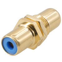 RCA Female to Female Connector Coupler Gold Plate For Wall Plate Color: Blue