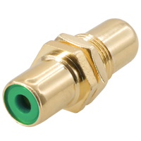 RCA Female to Female Connector Coupler Gold Plate For Wall Plate Color: Green
