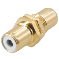 RCA Female to Female Connector Coupler Gold Plate For Wall Plate Color: White