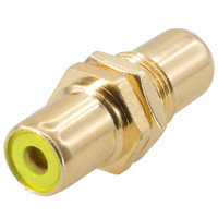 RCA Female to Female Connector Coupler Gold Plate For Wall Plate Color: Yellow