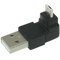 USB A Male to Micro-USB A Male 90-Degree Adapter