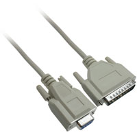 Serial Modem Cable DB9 Female to DB25 Male Cable, 1ft