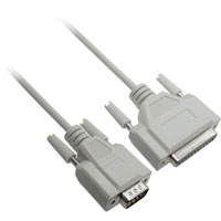 Serial Modem Cable DB9 Male to DB25 Female Cable, 1ft