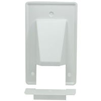 1-Gang Reversible Low Voltage Cable Entrance Plate with Removable Lower Plate - White