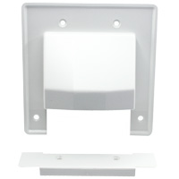 2-Gang Reversible Low Voltage Cable Entrance Plate with Removable Lower Plate - White