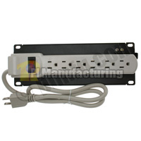 10 inch Rackmount Panel with 6 Outlet Power Strip