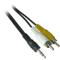 6ft 3.5mm Plug Male to 2 x RCA Audio and Video Male Cable