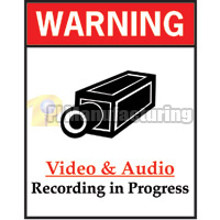 Audio/Video Recording Progress Warning Sign, 8.5 x 11 inch, Red