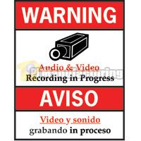 Audio/Video Recording Progress Warning Sign, English and Spanish, 8.5 x 11 inch, Red