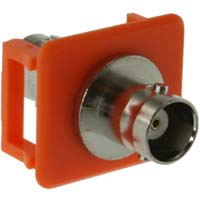 Snap-in Keystone Bezel with BNC Bulkhead Connector, Orange