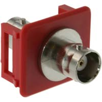 Snap-in Keystone Bezel with BNC Bulkhead Connector, Red