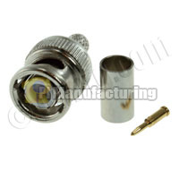 BNC59 Male Connector, Crimp Type for RG59, Quad Shield