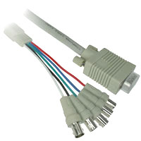1ft VGA Male to 5 BNC Female Monitor Cable